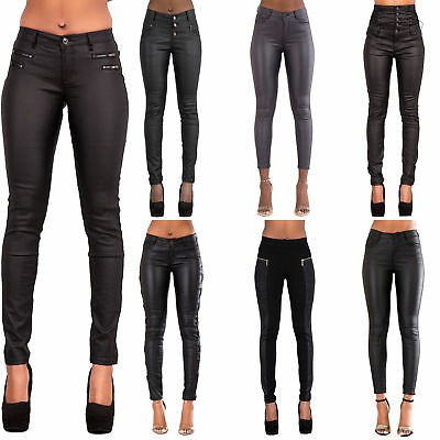 Ladies Black Leather Look Jeans Womens Skinny Stretch Biker Trousers Size 6-14 100% Original