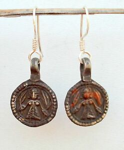 ANTIQUE TRIBAL OLD SILVER EARRINGS HINDU GODDESS INDIA