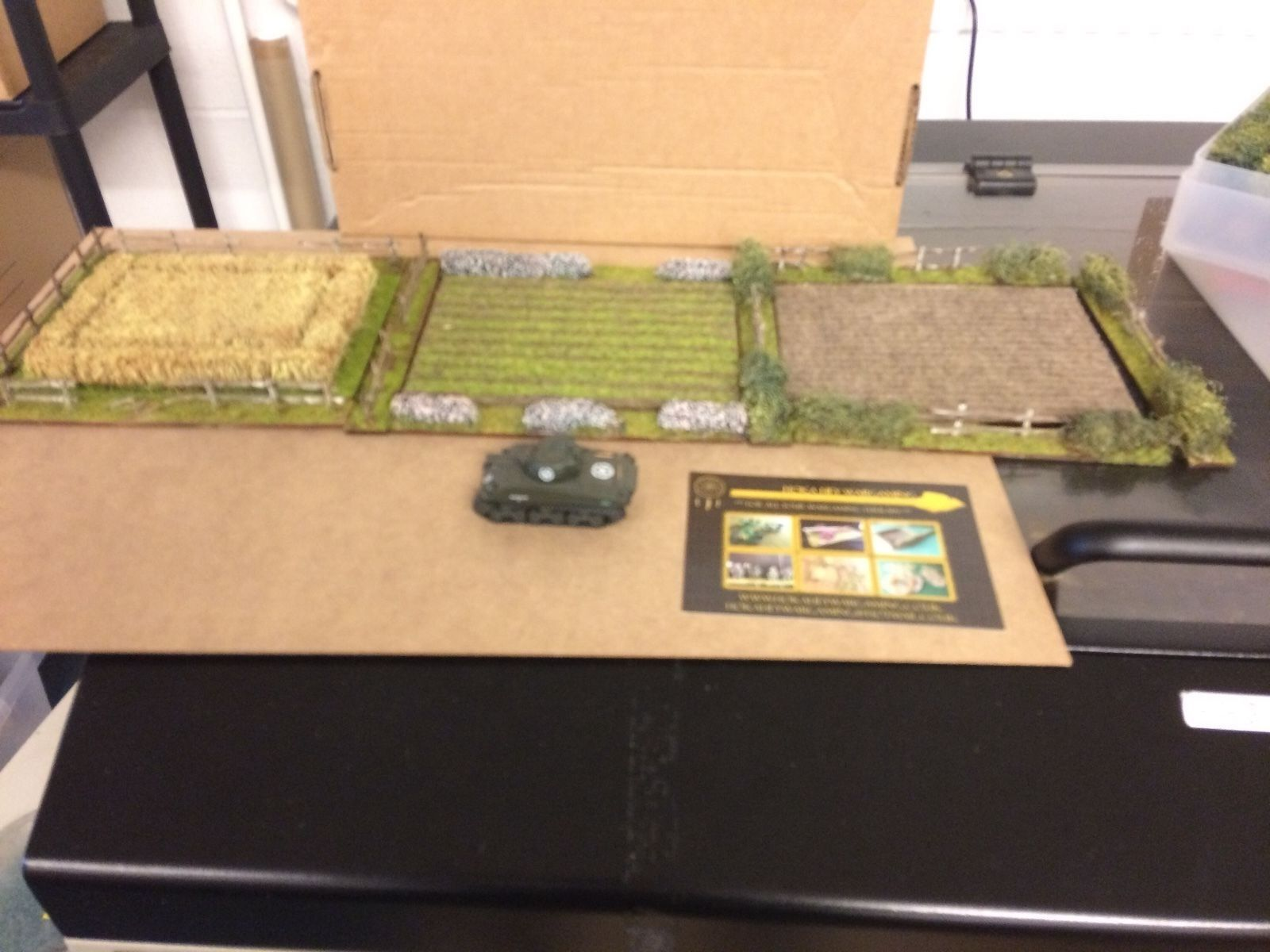 Wargame terrain scenery field set 20-28 mm in A4 plastic box