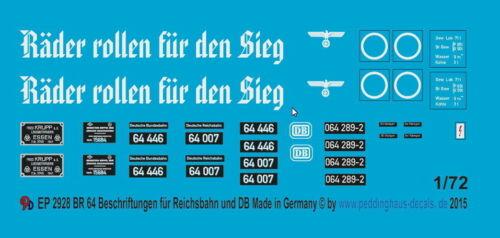 1//72 ep 2928 BR 64 Beschriftungen für Reichsbahn und Bundesbahn