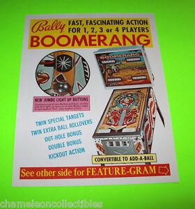 Bally-BOOMERANG-1975-Original-NOS-PINBALL-MACHINE-Promo-Sales-Flyer-Non-Stamped
