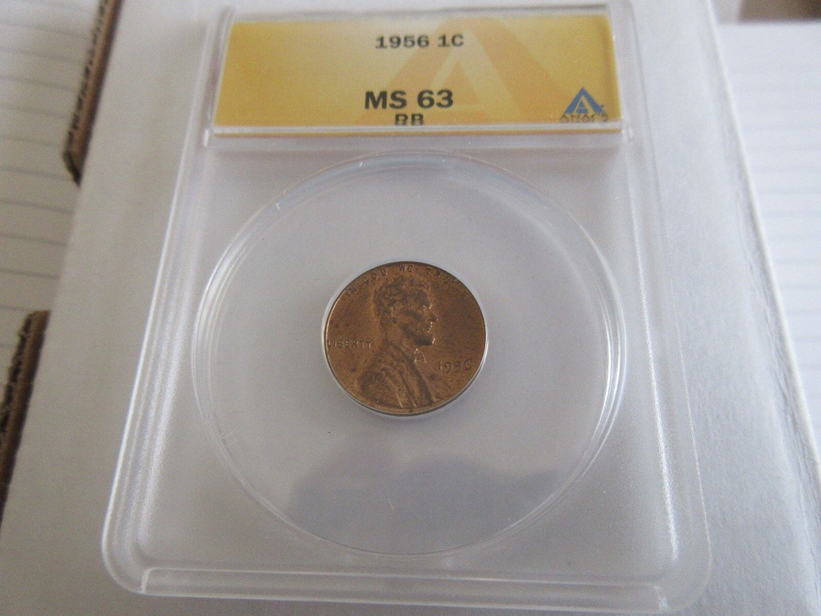 1956 , Lincoln Penny , MS 63 , RB , Anacs