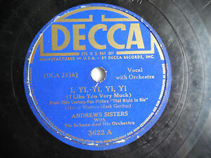 Andrews-Sisters-Decca-3622-I-Yi-Yi-Yi-In-Apple-Blossom-Time-78rpm-10-034-198-4NC