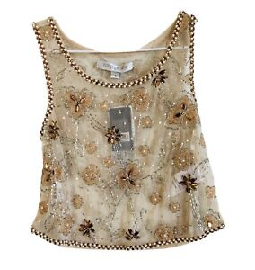 BNWT-FOREVER-NEW-Ayanna-Womens-Beaded-Tank-Crop-Top-Powdered-Bronze-Sequin-8