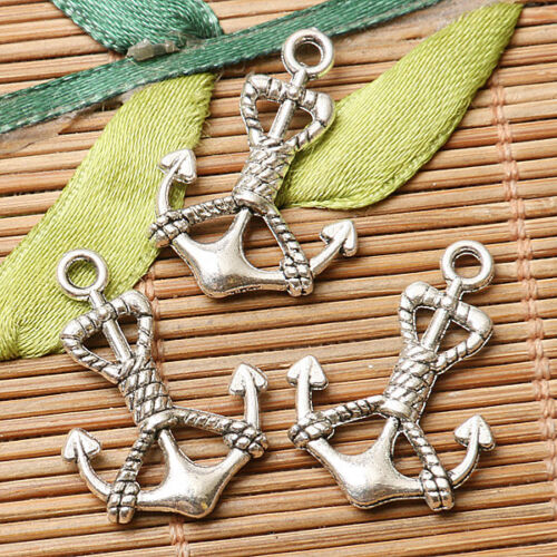16pcs dark silver color rope anchor design charms  EF2842