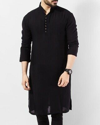 Indian Pathani Kurta Shirt 100/%Cotton Men/'s Tunic Top Plus Size Solid High Neck