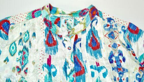 print ærmer 4 100 silke bluse euc ikat størrelse Johnny lille 3 var x687nq7WI