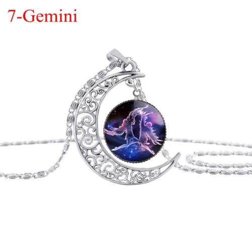 Women Men Zodiac Pendant Constellation Necklace Horoscope Astrology Necklace NEW