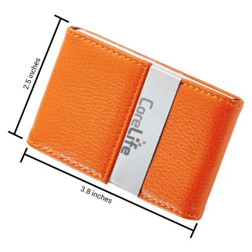 CoreLife Vegan Leather Business Card Holder Pocket ID Credit Card Wallet Case