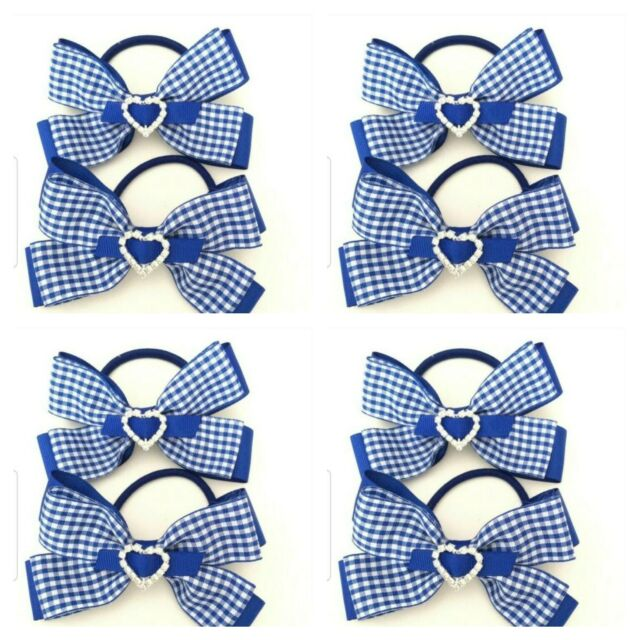 Handmade Girls Blue Gingham School Hair Bow Bobbles Sold In Pairs