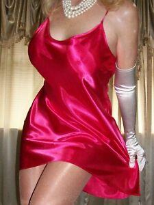 Vtg-Style-Cherry-Red-Shiny-Satin-Nightgown-Full-Slip-Chemise-Babydoll-3X-46-48