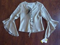 Jr Nites Caliendo Size 6 Beige Taupe Blouse Ruffles Floral Applique Top Romantic