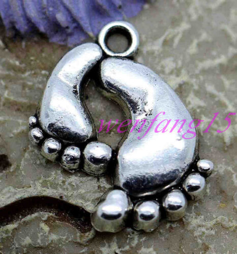 charms pendant Tibetan silver jewelry finding Bare feet 12-200pcs 20x13mm 1.5g