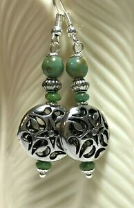 Free-Shipping-Summer-Silver-Filigree-Coin-amp-Turquoise-Czech-Glass-Beads-Jewelry