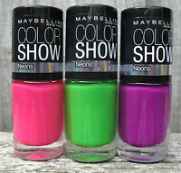 MAYBELLINE COLOR SHOW NEONS NAIL POLISH - PICK YOUR SHADE