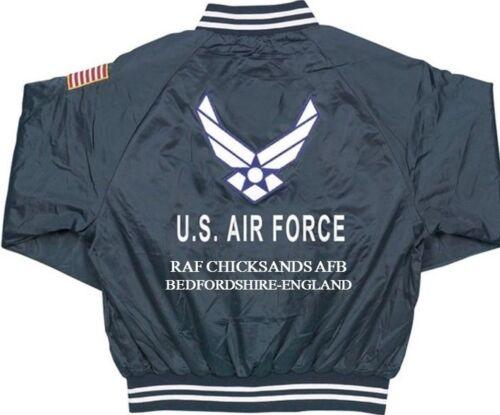 BEDFORDSHIRE RAF CHICKSANDS-ENGLAND USAF EMBROIDERED 2-SIDED SATIN JACKET