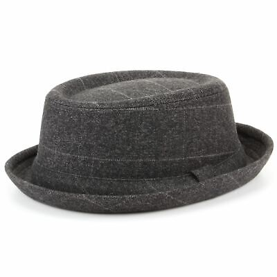 100% Wahr Pork Pie Hut Tweed Retro Landhaus Vintage Band Krempe Herren Rund Fest In Der Struktur