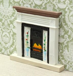 1:12 Dolls House White Victorian fireplace