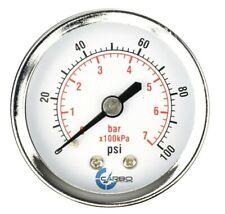 2 Pressure Gauge Chrome Plated Steel Case 14npt Back Mnt 100 Psi