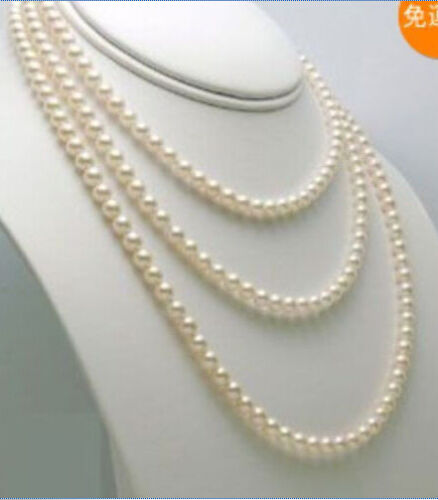 Long 54inches 6-7mm white freshwater Cultured pearl necklaces AA