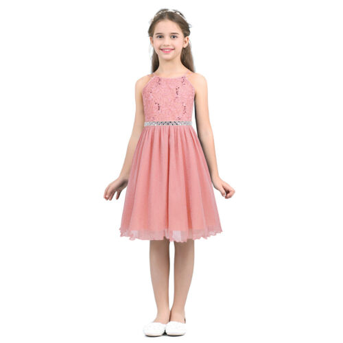 Flower Girl Princess Pageant Wedding Party Formal Gown Kids Lace Chiffon Dress
