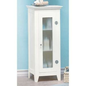 Small space saving slim 14 shabby white bathroom organizer bath cabinet shelf ebay - Bathroom cabinets for small spaces plan ...