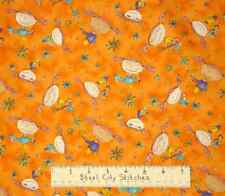 Red Rooster Sassy Princess Girly Girl Orange Fabric Yd