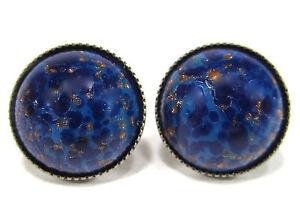 SoHo-Ohrstecker-vintage-altsilber-bohemia-lapis-blau-1960-s-handgemachtes-Glas