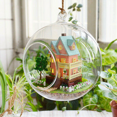 ~0.99~ DIY  Miniature Dollhouse in Glass Ball w/ light, (B-003)- My mini Hous