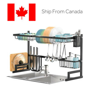 Kithchen Dish Drying Rack Over The Sink -Adjustable Large Dish Rack Drainer
