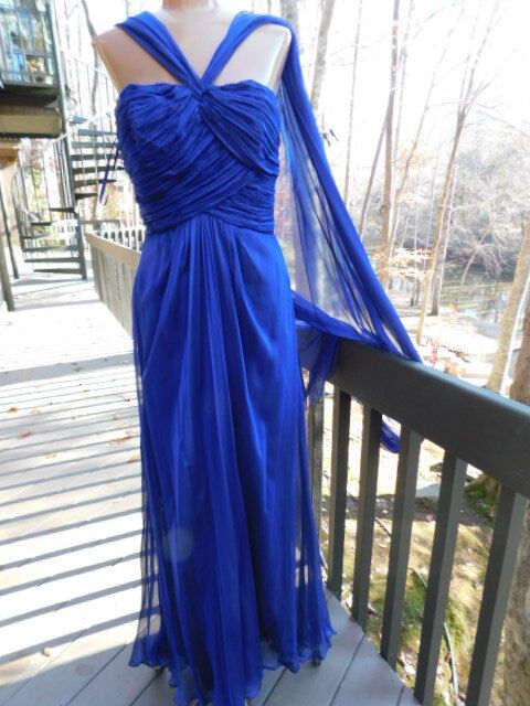 MIGNON new with tags SAKS in NY deep royal cobalt Blau GOWN long SILK GOWN  S  8