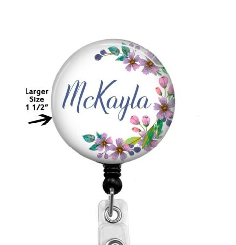 Lavender Floral Badge Reel Personalized Badge Holder RN Med Student Teacher