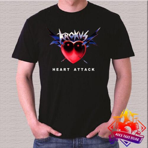 Krokus Rock Band Legend Heart Attack Album Logo Men/'s Black T-Shirt Size S 3XL