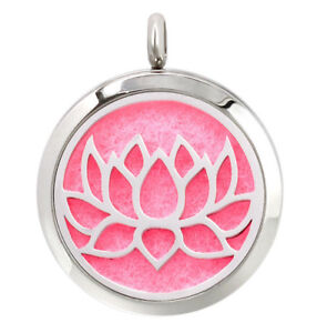 Open Lotus Flower Diffuser Necklace Locket Stainless Still 10ml Oil