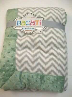 NEW Bacati Baby Blanket 30 x 40 inches Gray Plush Baby Blanket