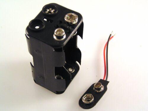 UM-3 4 x AA porte-batterie square /& PP3 Clip Rouge//Noir filaire 50 mm OM0523C