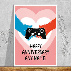personalised anniversary card hands xbox playstation love
