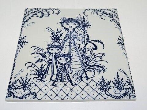 Porcelæn, Bjørn Wiinblad keramik  Kakkel med blå...,