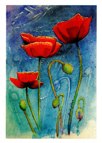 Red poppies greeting card by Glenda Gilmore