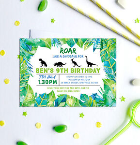 Image Is Loading Dinosaur Themed Birthday Party Invitations Any Age Pack