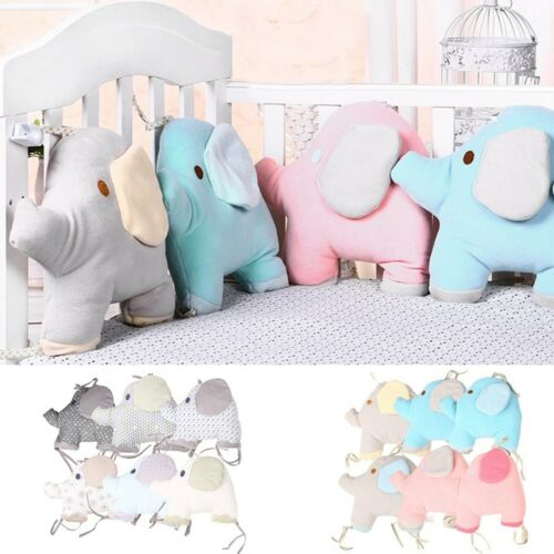 6PCS//Set Baby Bumpers Cartoon Elephant Infant Crib Bed Protector Cute Cot Pads