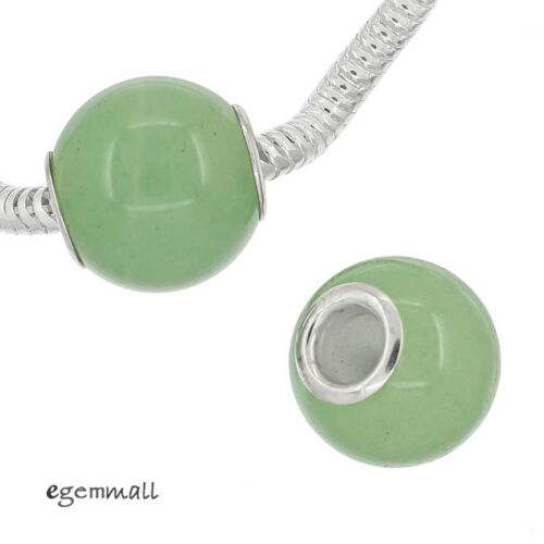 Select Size 1PC Aventurine Quartz Stone In Sterling Silver European Charm Bead