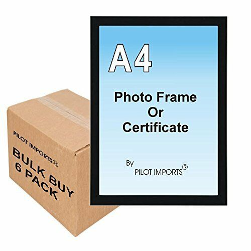 6 A4 Black /& Silver Photo Picture Certificate Frames Wall Desk Plastic Frame