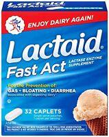 5 Pack Lactaid Fast Act Lactase Enzyme Supplement 32 Caplets Each on sale