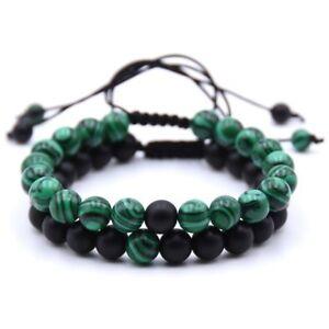 Matte Agate Malachite Stone Bracelet