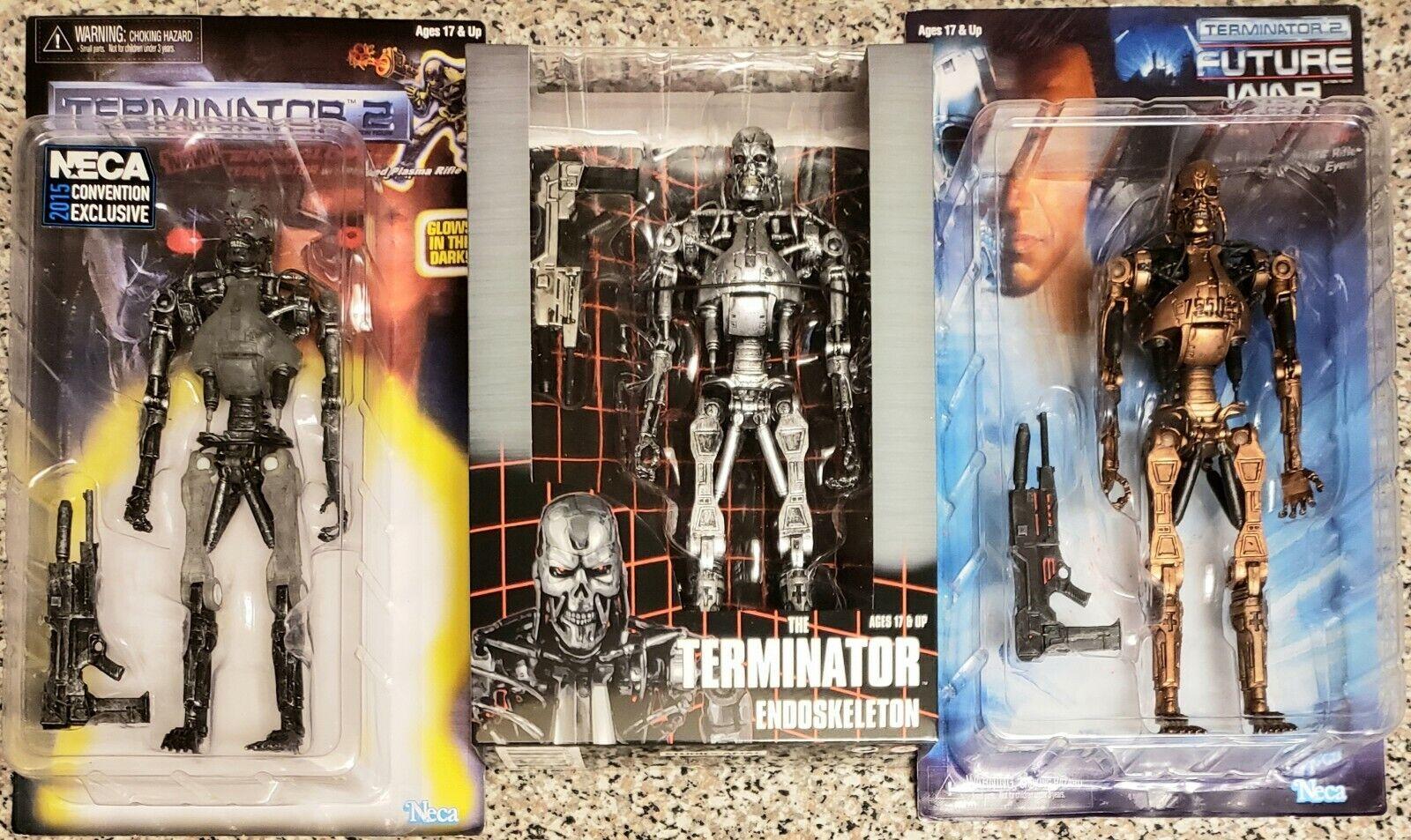 NECA Terminator T800 ENDOGLOW San Diego comic-con 2015, T800 Clásico, & T800 Metal Mash (nuevo)