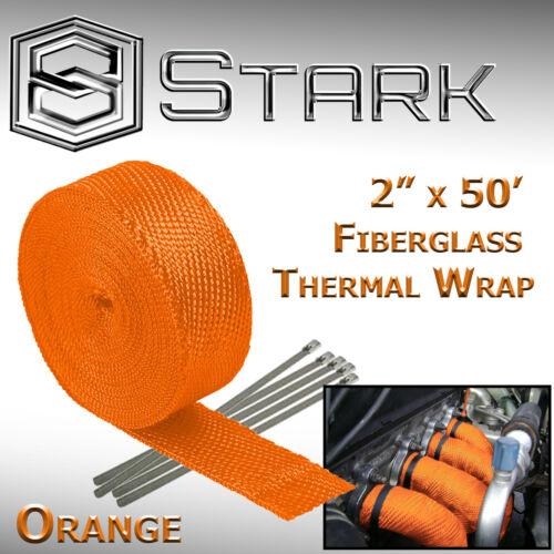 """G Orange 2/"""" x 50FT Exhaust Header Fiberglass Heat Wrap Tape w// 5 Steel Ties"""