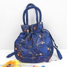 Embroidered Flower Silk Satin Purse Jewelry Bag Handbag BLue