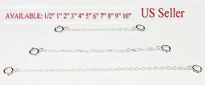 1mm Solid Sterling Silver Extender Safety Chain Necklace Bracelet  spring lock