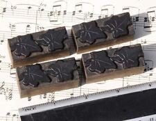 4 X Ivy Wood Letterpress Ornaments Wooden Printing Blocks Type Frame Line Rare